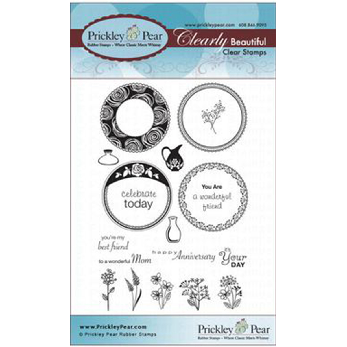 Prickley Pear Rubber Stamp Set-Scalloped Circle - Spring
