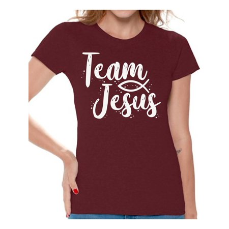 Awkward Styles Christian Clothing for Ladies Team Jesus Womens T-Shirt White Tshirt for Girls Christian Gifts for Girlfriend Jesus Shirts Jesus Team Clothing Collection for Women Jesus T Shirt for Her