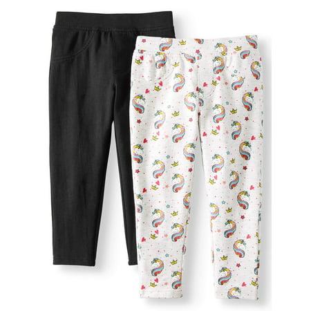 Pink Velvet Printed and Solid Knit Jegging Jeans, 2-Pack (Little Girls & Big Girls)