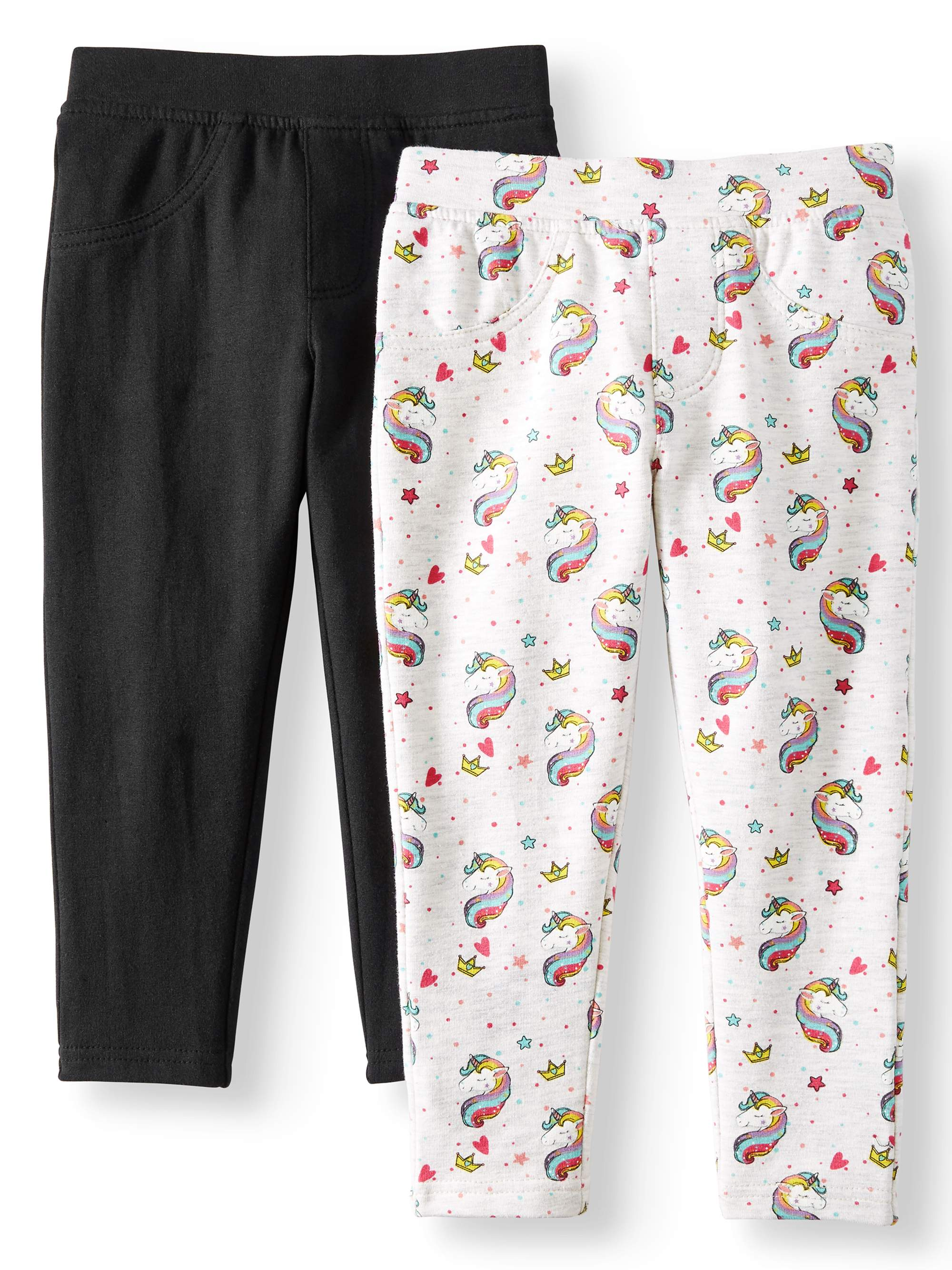 Printed and Solid Knit Jeggings, 2-Pack (Little Girls & Big Girls)