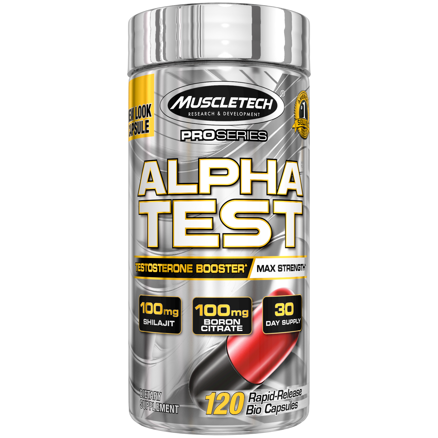 MuscleTech Pro Series Alpha Test Max-Strength Test Booster Capsules, 120 Ct