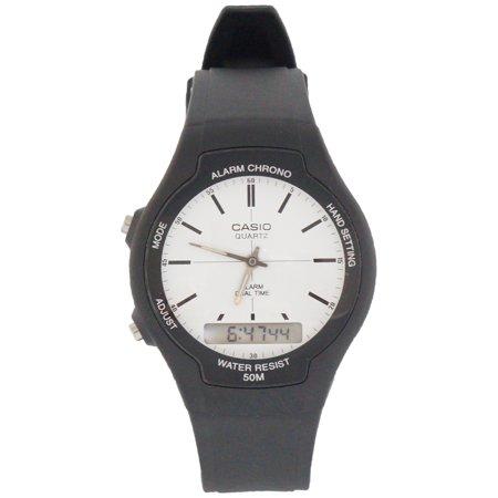 Black Rubber Watch - Casio Men's AW-90H-7EV Core Black Rubber Quartz with White Dial Watch