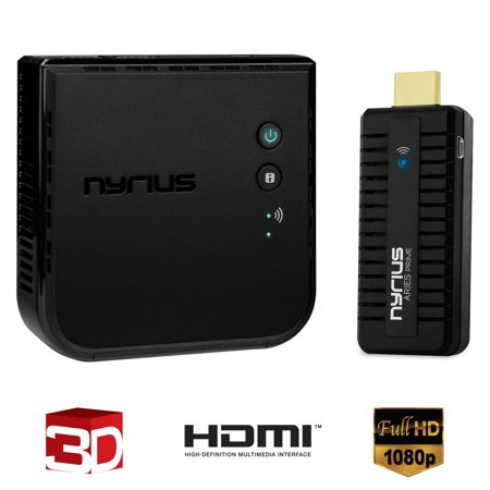 Nyrius ARIES Prime Wireless Video HDMI Transmitter & Receiver for Streaming HD 1080p 3D & Digital Audio to HDTV