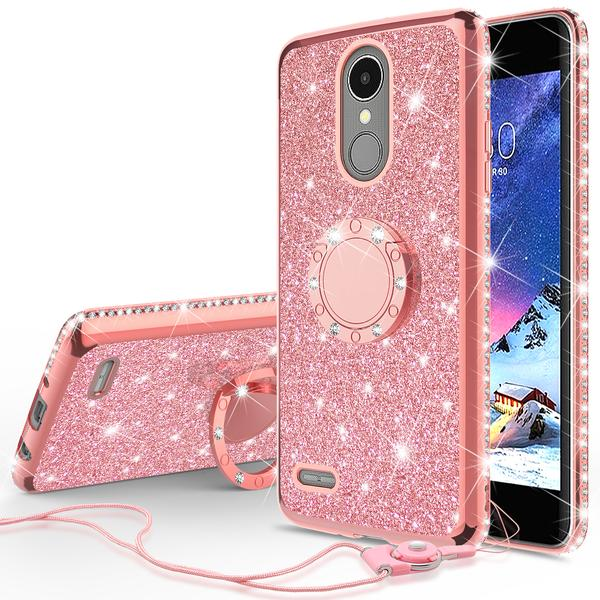 Glitter Cute Phone Case with Kickstand Compatible for LG Rebel 3 LTE Case,LG Aristo Case,LG Phoenix 3/LG Fortune Case Bling Diamond Rhinestone Bumper Ring Stand Sparkly Clear Thin Soft Girls Women