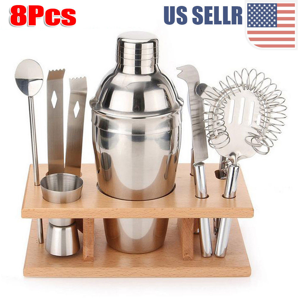 8 PCS Stainless Steel Cocktail Shaker Mixer Drink Bartender Martini Tools Bar Set(350ML)