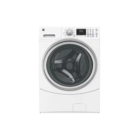 Gfwn1600jww 27  Energy Star Rated Front Load Washer With 4 3 Cu  Ft  Capacity  Quiet By Design  10 Washing Cycles  Vibration Control And Sanitize With Oxi In White