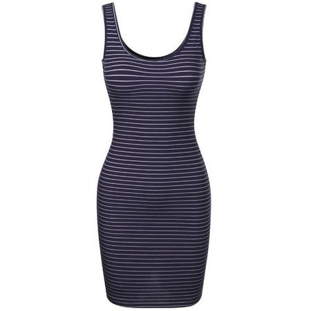 Sleeveless Skirt Suit (Made by Olivia Women's Stripe Sleeveless Scoop neck Knit Tank Bodycon Dress Navy L)