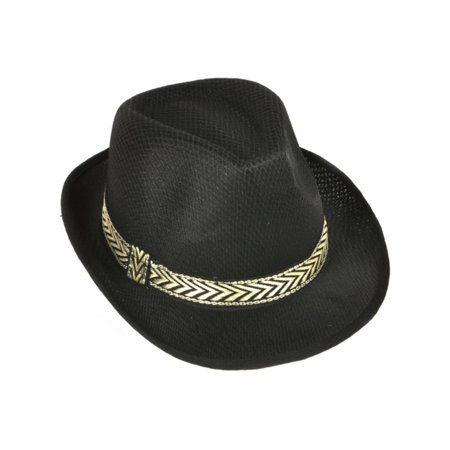 Childs Modern Black Mesh Fashion Fedora With Contrasting Hat Band](Fedora Black)