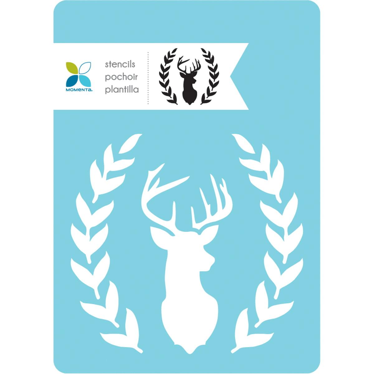 "Momenta Stencil 5""X7""-Deer Head With Fauna"