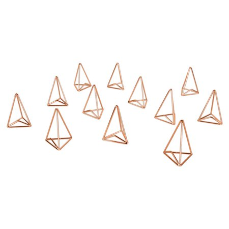 Koyal Wholesale Modern Metal Geometric Triangle Wedding Place Card Holders, Set of 12 Rose Gold Table Number Holders](Diy Wedding Table Numbers)