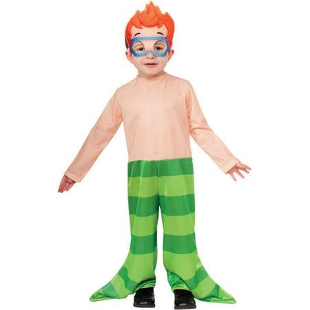 Bubble Guppies Nonny Merman Toddler Jumpsuit & Mask Cartoon Child Boys Costume (Bubble Guppies Halloween Costume)