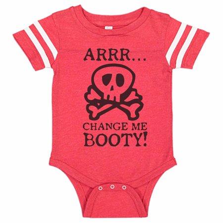 "Kids Pirate Diaper Change Bodysuit Raglan ""Arrr Change Me Booty"" Newborn Shirt, 6-12 months, Red/White"