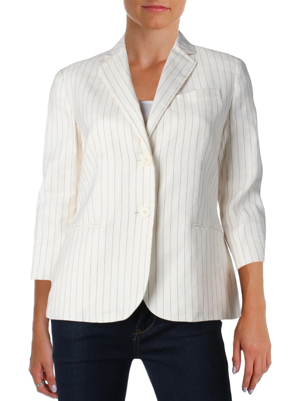 Lauren Ralph Lauren Womens JOHANNIE Linen Blend Pinstripe Two-Button Blazer