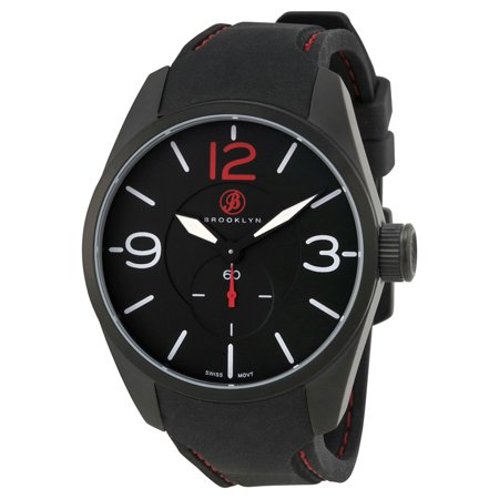 Lafayette Black Dial Black Red Stitching Rubber Strap Swiss Quartz Mens Watch