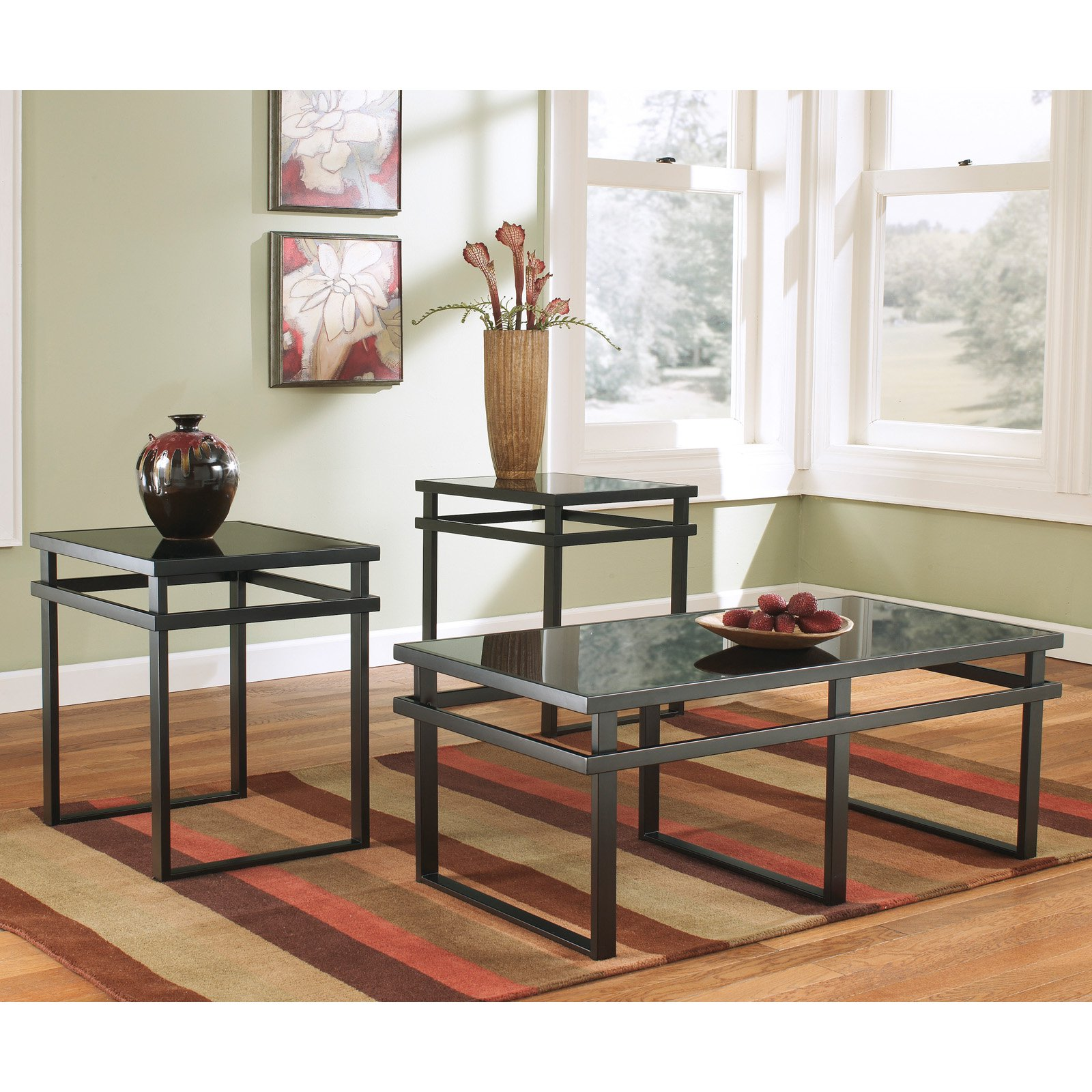 Signature Design By Ashley Laney Black Occasional Table - Set of 3