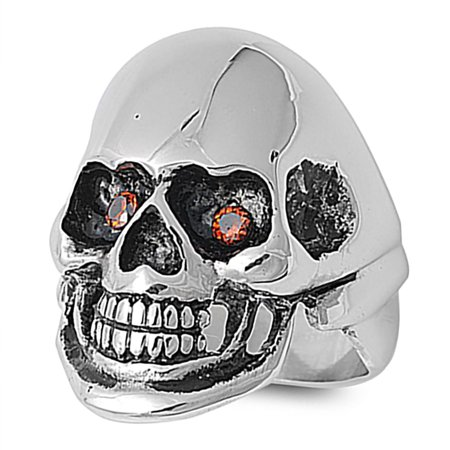 Lex & Lu Men's Fashion Stainless Steel Skull Biker Ring w/2 Red Gem Eyes