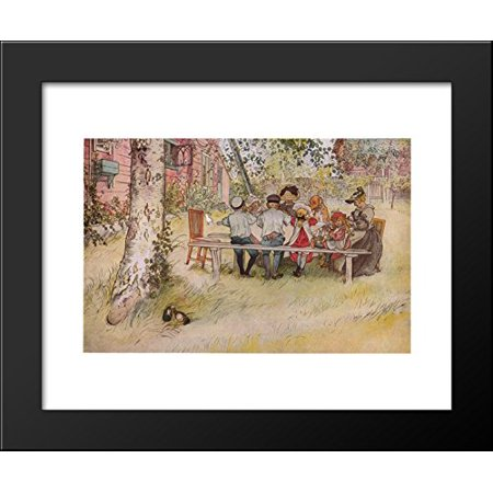 breakfast under the big birch 20x24 framed art print by carl larsson
