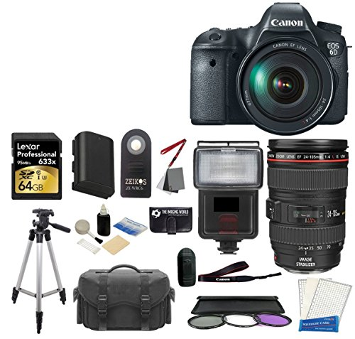 Canon EOS 6D SLR Digital Camera with Canon 24-105mm f 4.0L is USM AF Lens + Battery + Tripod + Case + Lexar 64GB Master by The Imaging World