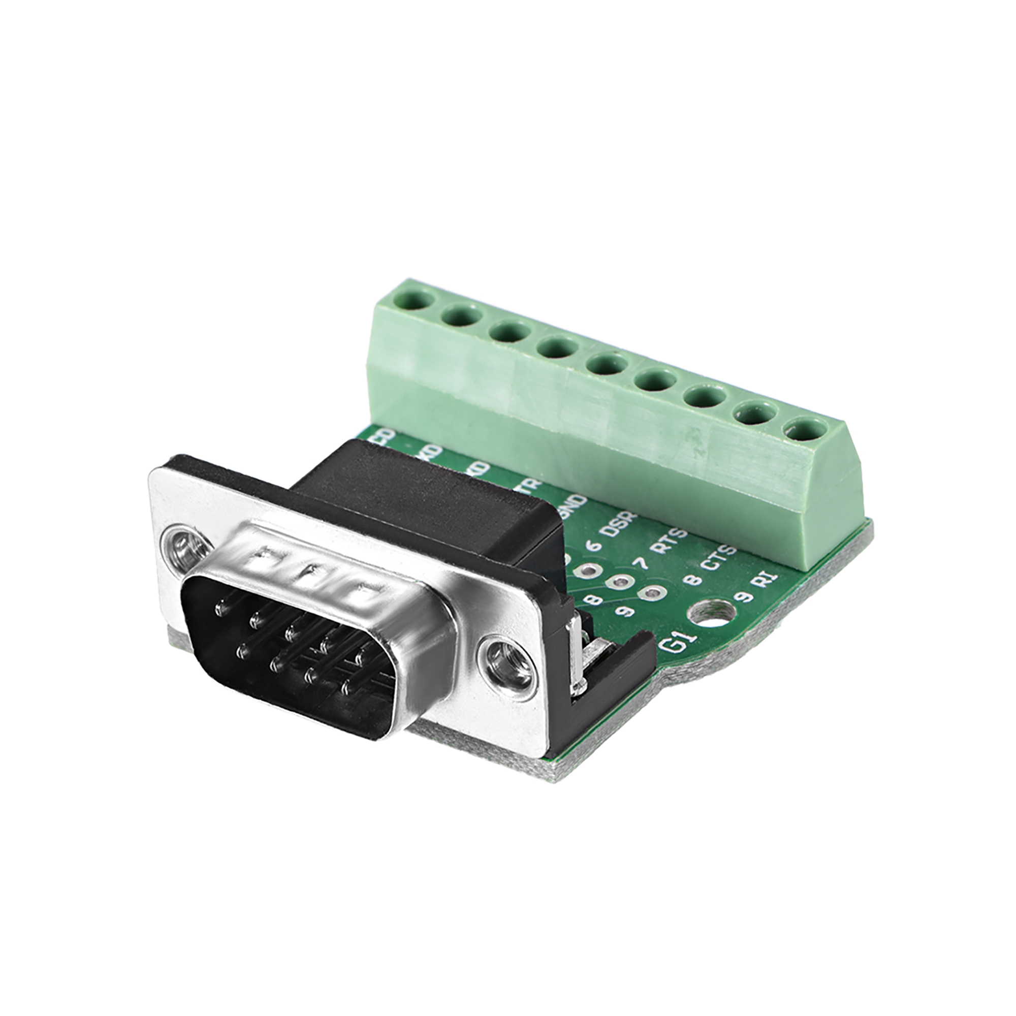 D-sub DB9 Breakout Board Connector 9 Pin 2 Row Male RS232 Serial Port Solderless Terminal Block Adapter - image 4 de 4