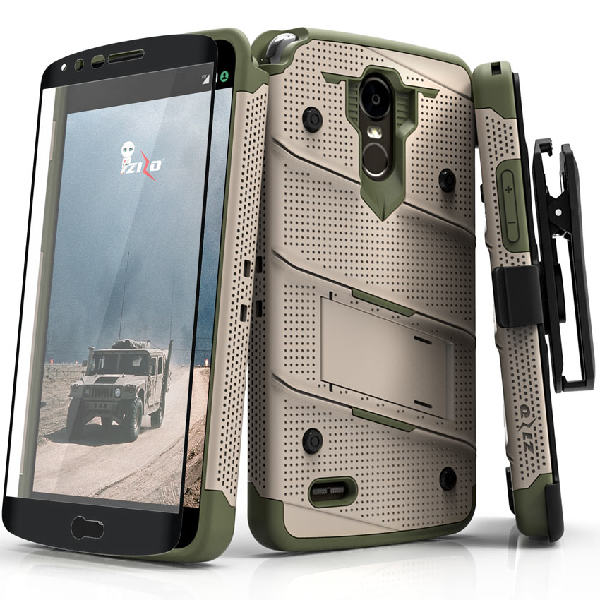 Zizo BOLT Series compatible with LG Stylo 3 Case Military Grade Drop Tested with Tempered Glass Screen Protector, Holster, Kickstand
