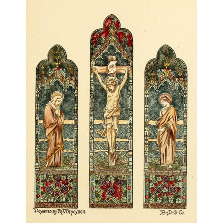 Belcher Mosaic Glass 1886 Christ on Cross stained glass Canvas Art - Fr Verheyden (24 x 36)