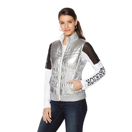 Reversible Quilted Vest - WARRIOR by DANICA PATRICK Reversible Down Quilted Womens Vest Silver White XL