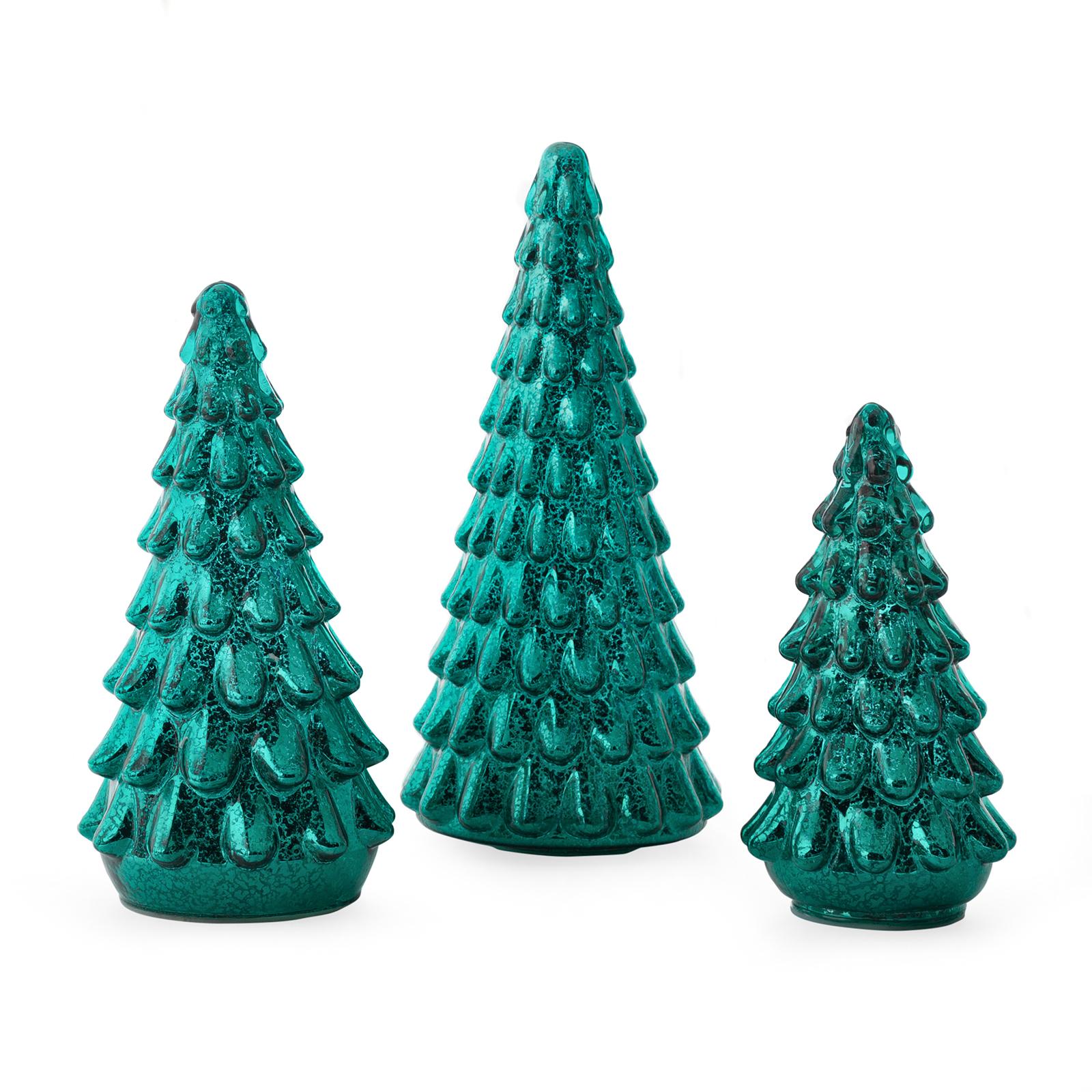 Belham Living Christmas Trees Mercury Glass Set of 3, Green