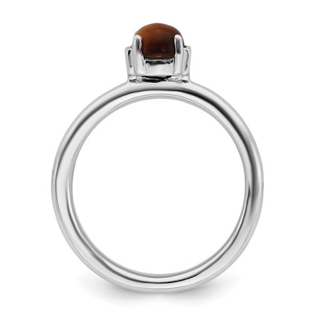 Sterling Silver Stackable Expressions Tigers Eye Rhodium-plated Ring Size 7 - image 3 of 3