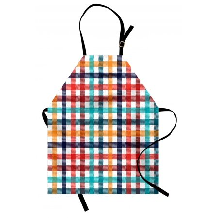 Checkered Apron Colorful Fresh Summertime Pattern Design Gingham Plaid Striped Traditional Picnic, Unisex Kitchen Bib Apron with Adjustable Neck for Cooking Baking Gardening, Multicolor, by Ambesonne