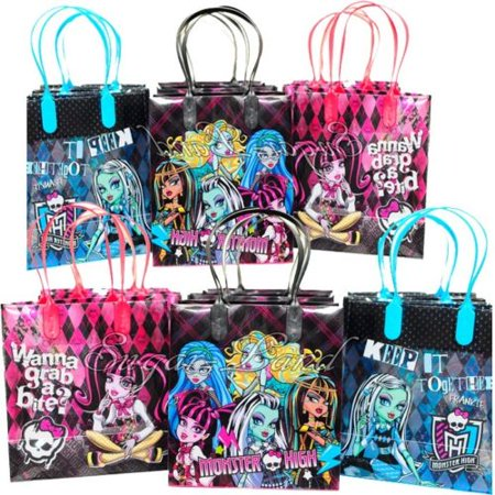 12 Monster High Party Favor Bags Birthday Candy Treat Favors Gifts Plastic Bolsa De Recuerdos - Monster Candy