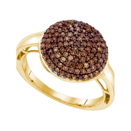 10kt Yellow Gold Womens Round Cognac-brown Color Enhanced Diamond Cluster Ring 5/8 Cttw - image 1 of 1