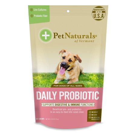 Pet Naturals of Vermont Daily Probiotic for Dogs, Digestive Health Supplement, 60 Bite-Sized (Best Over The Counter Pct Supplement)