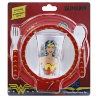 Bumkins Wonder Woman Kids Dish Set, Plate, Bowl, Cup, Fork and Spoon