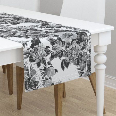 Table Runner Midcentury Flower Cocktail ~ Black And White By - Cotton Sateen
