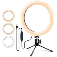 """6"""" Ring Light with Stand, Selfie Ring Light with Dimmable 3 Light Modes &10 Brightness Level, USB LED Lamp for YouTube Video Makeup Live Streaming Volg, Compatible with iPhone & Android"""
