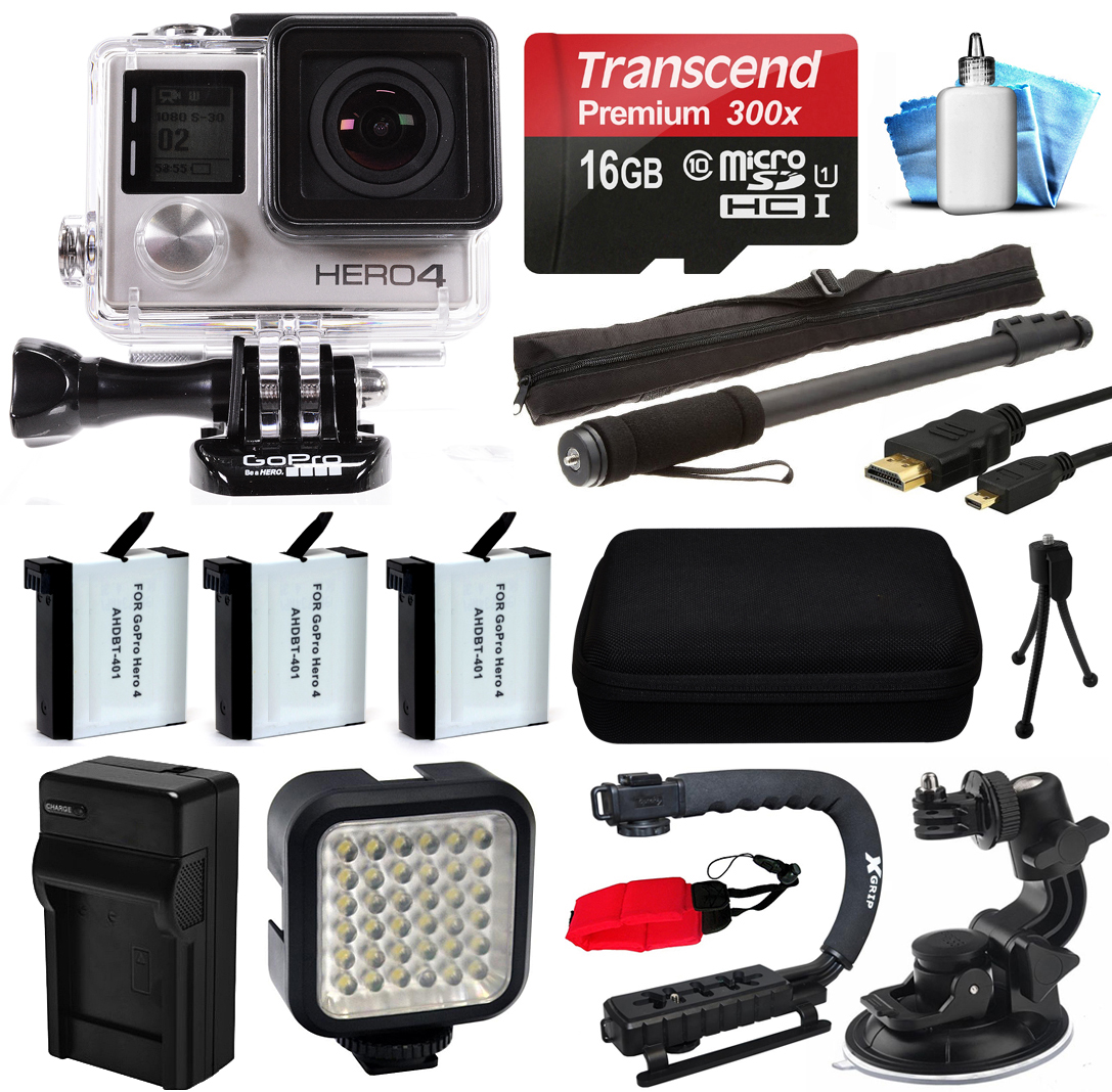 GoPro HERO4 Silver Edition 4K Action Camera with 16GB MicroSD Card, 3x Batteries with Charger, Opteka xGrip Action Video Stabilizer, Night LED Light, Car Mount Attachment, HDMI Micro Cable + More