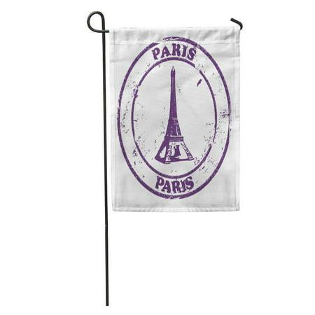 LADDKE France Paris Stamp Eiffel Tower Holiday Old World Post Vintage Garden Flag Decorative Flag House Banner 12x18 inch (Unt Flag)