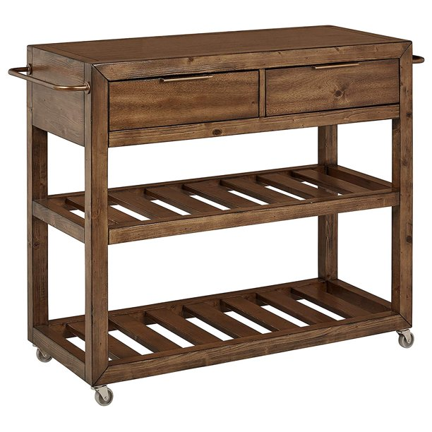 Homefare 2 Drawer 2 Shelf Rolling Kitchen Island Cart Brown Walmart Com Walmart Com