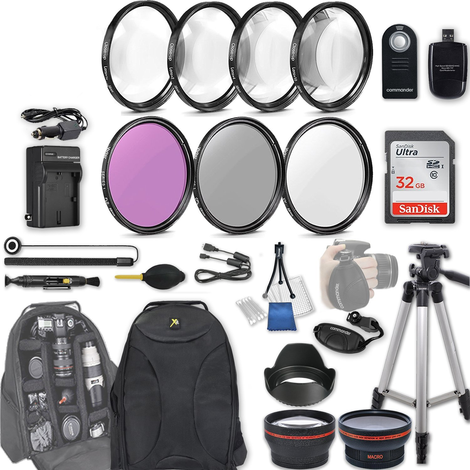 58mm 28 Pc Accessory Kit for Canon EOS Rebel SL2, 200D DSLR with 0.43x Wide Angle Lens, 2.2x Telephoto Lens, 32GB SD, Filter & Macro Kits, Backpack Case, and More