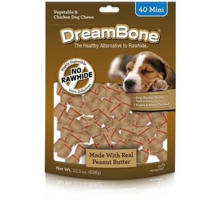 DreamBone Rawhide-Free Mini Chews, Made with Real Peanut Butter, 40-Count (Peanut Butter Dog Bones)