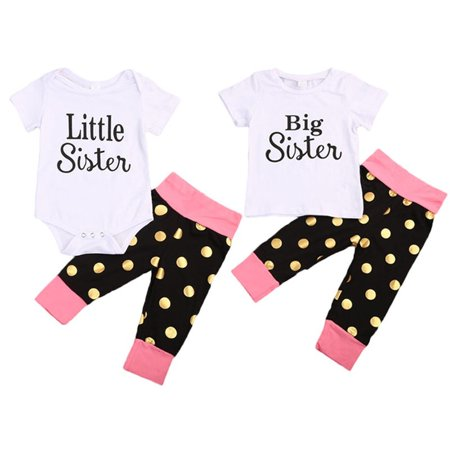 2017 Fashion Newborn Baby Girl Little Big Sister Romper T-shirt Tops Pants Outfit Kid Clothes - Celebrities Halloween Outfits 2017