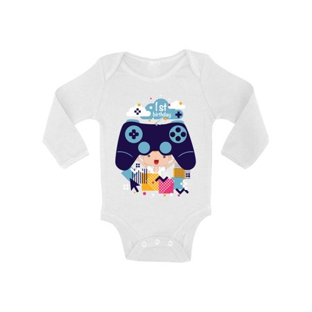 Awkward Styles Video Game One Piece Birthday Gifts Game Baby Bodysuit Long Sleeve 1st Birthday Party One Piece Top Gamer Party Birthday 1 Year Old Video Game One Piece Top for Baby First Birthday](Halloween Party Games For One Year Olds)