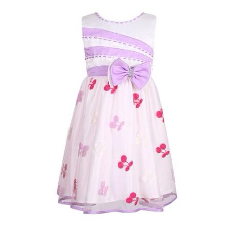 Little Girls White Lilac Cherry Bow Party Dress 4