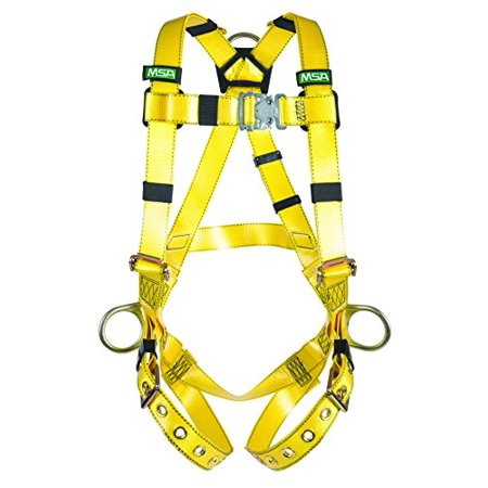 Midi Coated Buckle - MSA 10155877 Gravity Coated Web Harness, Vest-Type, Back and Hip D-Rings, Tongue Buckle Leg Straps, Super X-Large Size