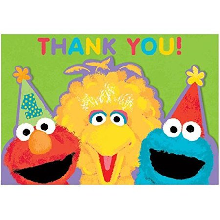 Amscan Sesame Street 1st Birthday Thank You Cards party supplies, Green