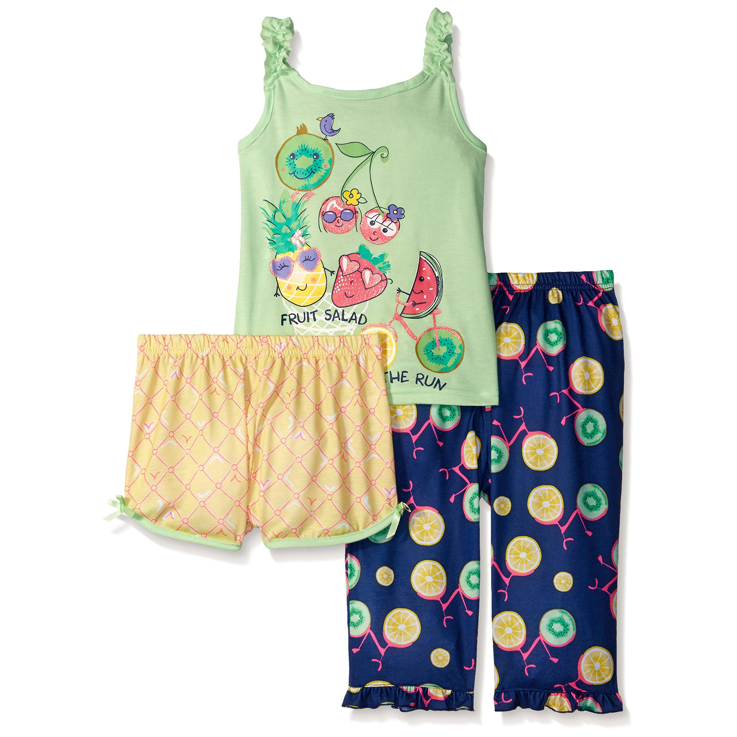 Komar Kids Girls' 3 Piece Sleepwear Set Fruit Salad Short Set with Print Pant