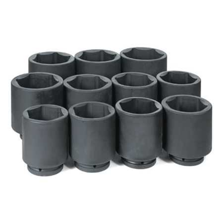 "1"" Dr. 11 Piece Deep Fractional Set 3-1/8"" - 4-1/2"" GREY PNEUMATIC 9011D"