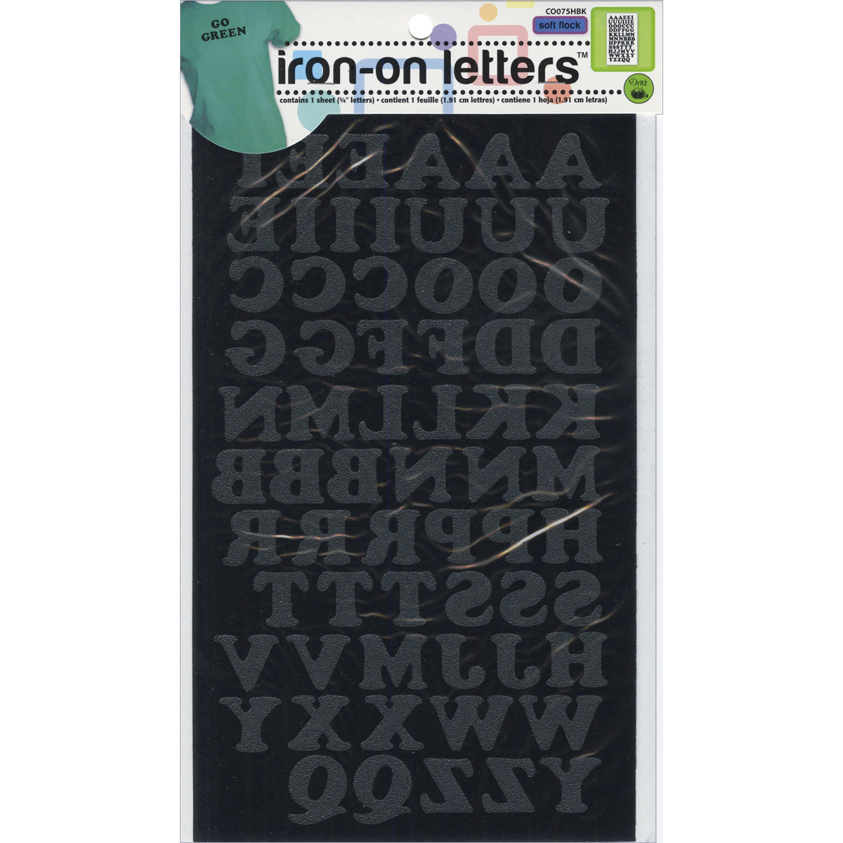 """Iron-On Letters .75"""" Cooper-Black"""