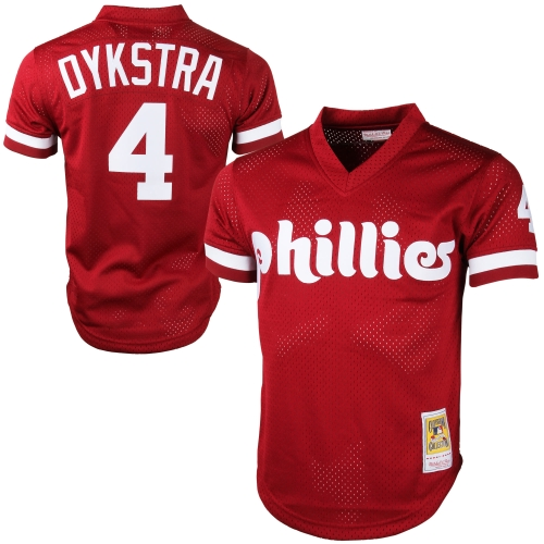 Mitchell & Ness Lenny Dykstra Philadelphia Phillies Cooperstown Collection Mesh Batting Practice Jersey - Red