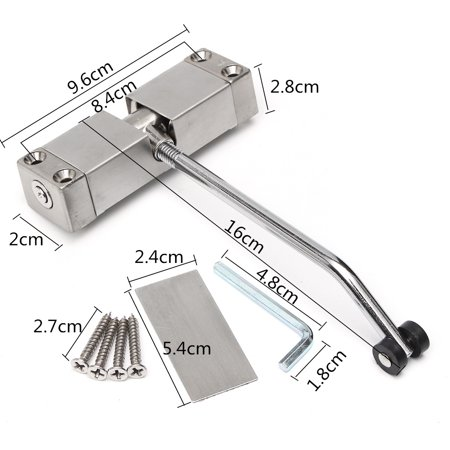 Stainless Steel Adjustable Surface Mounted Automatic Spring Door Closer For  - image 3 de 9